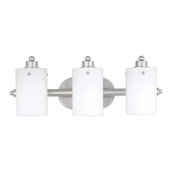 Quoizel - Quoizel AN8540ES Adano 3 Light Bathroom Vanity Lights in Empire Silver - Long Description: Cylindrical shades of opal etched glass distinguish this bath fixture as a striking piece of contemporary chic. The silver finished arms and wall mount contrast with the frosted appearance of the shades, accentuating the smooth lines and round contours that make this piece lovely to behold.