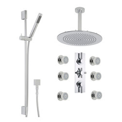 "Hudson Reed - Thermostatic Shower System, 12 Round Ceiling Head, Handset & Body Jets - Enjoy an amazing showering experience with the Tec shower kit from Hudson Reed. Perfect for adding modern style to any bathroom, this shower kit comes with six round body jets, slide rail kit, 12 fixed shower head with ceiling mounted arm and the thermostatic triple shower valve.The British made thermostatic valve features a built-in anti-scald device for total peace of mind. Hudson Reed Thermostatic Triple Shower Valve Details   Solid brass rough-in valve Made in Great Britain Serviceable check valves and strainers Ceramic Disc Technology Built-in diverter Pre-set maximum temperature 104ºf Automatic anti scald device Recommended pressure for best performance 2 to 75 psi  ½ NPT Inlets and Outlets Compatible with standard US plumbing connections Compatible with combi boilers, gravity fed systems, unvented mains pressure systems and for shower pumps Warranty: 10 years  Hudson Reed Round Body Jet Details   Chrome finish Sliding collar IAPMO approved 1/2 NPT inlet Easy clean nozzles 9.5L/min 2.5gpm regulator installed Made from solid brass Single spray pattern  Hudson Reed 12 Round Shower Head Details   IAPMO Approved 1/2 NPT inlets Chrome finish Easy clean nozzles 9.5L/min 2.5gpm regulator installed  Hudson Reed Linear Slide Rail Kit Details   Chrome finish IAPMO approved Easy to fix  Shower Consists of:     UFG-HR716Triple Diverter Valve Body Only Concealed  UFG-HRPS711Slim Triple Trim Plate (Round Flange)   UFG-HRH722Round Crosshead Temperature Handle  UFG-HRH724Round Head Flow Control Lever  UFG-HRBT701Round Sheer Body Jet  UFG-HRSK701Linear Slider Rail Kit  UFG-HRFH70159"" Double Lock  UFG-HRH1981/2 Double Check Valve Connector with DW15 Check Valves  UFG-HROE701Square Outlet Elbow  UFG-HRHS702Round Easy Clean Handset  UFG-HRSH703Round Fixed Head 12""  UFG-HRAM704Round Ceiling Arm 6"""