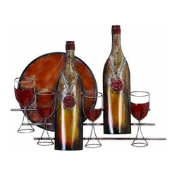 UMA - Let it Breathe Vineyard-Inspired Wine and Goblets Metal Wall Hanging - Regal styling and an antique color palette give this wine and wine goblets metal wall sculpture added oomph; display this ethereal piece to your dining area, kitchen, or home bar area for a sophisticated touch