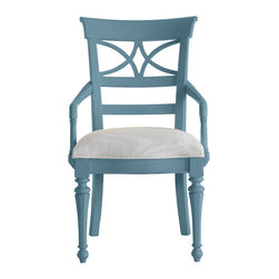 Stanley Furniture - Coastal Living Cottage Sea Watch Arm Chair - Wave Finish - Combine a filigree back and chamfered legs and you've got reason to sit a little longer. Gently bowed arms are comfortable, yet narrow enough to cup in your palm. Features a cushioned seat in your choice of five fabrics. Made to order in America.