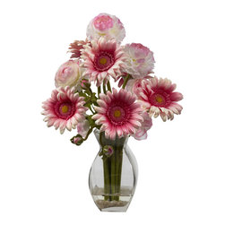 Nearly Natural - Gerber Daisy & Ranunculus Delight Arrangement - Sometimes, you just find the perfect blend. And that's what we did with this Gerber Daisy & Ranunculus arrangement. The Daisies provide the spark, with their bursting blooms, while the Ranunculus radiate an understated elegance that cannot be duplicated. Put together in a glass vase with faux water, this arrangement will enhance any decor. Makes an ideal gift as well.