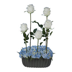 Laura Cole - Jacquette Faux - White Roses with Hydrangea's in Grey Vase, Blue - Add a splash of romance to any room with this exquisite permanent bouquet of white roses and blue hydrangea's. This unique, one of a kind silk flower arrangement will prove that its just as realistic, breathtakingly gorgeous and romantic as the most expensive flower arrangements you can buy. Finished with a gorgeous grey ceramic vase designed to coordinate with any decor, this beauty will bring color and life into any space.