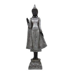 Silvered Standing Thai Buddha Statue Figure Buddhist - This beautiful cold cast resin standing Thai Buddha statue is hand-painted with deep bronze and metallic silver enamels to accent the detail of this stunning piece. The Buddha measures 18 inches tall, 6 inches wide and 3 1/2 inches deep. It looks great in living rooms, offices, bedrooms, even in kitchens.