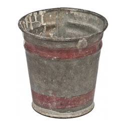 Zinc Flower Bucket - Small vintage galvanized zinc flower market bucket with red paint details.