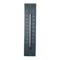 Slate Thermometer - Durable outdoor slate thermometer with decorative scrollwork printed on each corner. The thermometer indicates temperatures between -20 to 120 degrees Fahrenheit and -30 to 50 degrees Celsius.