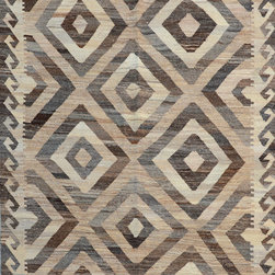 "ALRUG - Handmade Beige/Brown Oriental Kilim  4' 4"" x 6' 11"" (ft) - This Afghan Kilim design rug is hand-knotted with Wool on Wool."