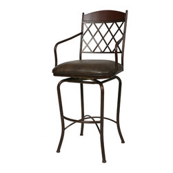 """Pastel Furniture - Napa Ridge Swivel Barstool - The Napa Ridge 34"""" barstool with arms is beautifully made with classic design elements that will add that touch of style to any room. This swivel 34"""" barstool features a quality metal frame with sturdy legs and foot rest finished in Autumn Rust with Walnut wood slat. The padded seat is upholstered in Florentine Coffee offering comfort and style. Also available in 26"""" counter or 30"""" bar height. Assembled dimensions for this barstool: 51.25H  x 22W x 24D"""