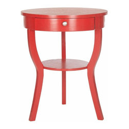 One Drawer End Table with Splayed Legs in Red - The classically styled Safavieh Kendra end table assumes a fashion edge with chic colors and finishes. Its round top and shelf supported by whimsical splayed legs look fresh and new with pine wood in a hot red finish. Great with reading lamps beside a sofa or chair, the Kendra end table transitions beautifully into the bedroom.