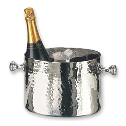 Old Dutch International - Double Ice Bucket in Chrome Finish w Aluminum - 7 quart capacity. Made from stainless steel. Brass accents nickel plated with aluminum insert. 12 in. L x 7.5 in. W x 7.25 in. H (5.5 lbs.)Chrome double champagne chiller by Old Dutch Keep the champagne cold during your next big party. Knob handles on either side make it easy to carry should the party move outside. Chrome plate over heavy steel and brass. Removable aluminum insert keeps two bottles of champagne or sparkling wine icy cold throughout the event.