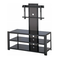 Lite Source - Lite Source Burly 3-Tier TV Stand X-KLB2165-HSL - Featuring an adjustable screen frame (accommodates a TV up to 42 inches) and three tiers, this functional Lite Source TV stand is also extremely stylish. From the Burly Collection, this contemporary TV stand features a combination of metal and glass construction, which adds to the appeal of this modern design.
