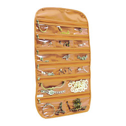 None - 31 pocket hanging jewelry organizer Beige Gold,  By Florida Brands - 31 pocket, Clear Pockets for easy view, Both Sides Pockets.