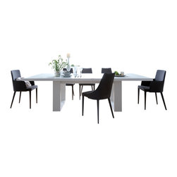 """Temahome - Tundra 79"""" Extendible Dining Table W/ Extension, High Gloss Wht/High Gloss Wht - With Tundra table it's always possible to fit another unexpected guest. The rectangular top sits on a structure that is less traditional than it seems on a first sight, with sturdy wide legs giving Tundra a strong profile. Available with extensions in a variety of different finishes."""