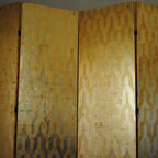 gold gilded folding screen - Four panel screen, 7' high, 8' long. Gold leaf and hand painted gold geometric pattern.