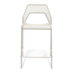 "Blu Dot - ""Blu Dot Hot Mesh Counterstool, Off White"" - ""Chipper stool seeks derrieres for at home enjoyment or cafe canoodling. Available in six finishes: black, green, humble red, natural yellow, simple blue and off-white. Stackable and suitable for use indoors or out. Also available as a chair or counterstool."""