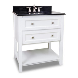 "Traditional Shaker Vanity Set, Single Sink (White) - This set consists of 31"" wide MDF vanity with tapered legs, satin nickel hardware and preassembled granite top. Two fully functioning drawers and bottom shelf provide for ample storage. Vanity comes preassembled with a 2cm black granite top with 4"" tall backsplash, 17"" x 14"" bowl, and cut for 8"" faucet spread."
