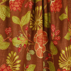Richloom - Ruthie Chocolate Tropical Linen Floral Fabric By The Yard - Ruthie color Chocolate is perfect for curtains, bedding, pillows and light upholstery. Richloom fabric that has brown, rust red, oranges and greens. 55% Linen and 45% rayon.