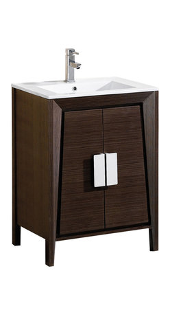 "Fine Fixtures - Fine Fixtures Imperial II 24"" Ebony Wave Bath Vanity With Sink Faucet and Pop Up - Marrying staple colors to explorative design, Imperial II is as beautiful as it is functional. The wood veneer grain is designed to create an eye-catching effect: While the surface pattern is horizontal for the vanity cabinet, its doors sport vertical grain lines that meet at the corners in harmonious contrast. Heavy duty polished chrome hardware adds stateliness and presence to an already commanding look, which is further enhanced by a grade AAA vitreous China sink basin. Connecting plumbing is super easy thanks to fully open vanity backs. Its exquisite appearance is sure to leave a magnificent impression on your bathroom."