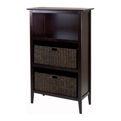 """Winsome Wood - Winsome Wood Toscana 3 Piece Storage Shelf w/ 2 Large Foldable Corn Husk Baskets - 3 Piece Storage Shelf w/ 2 Large Foldable Corn Husk Baskets in Espresso / Chocolate belongs to Toscana Collection by Winsome Wood 3-Pc Storage Shelf comes with Toscana Shelf in Dark Espresso Fniish and 2 Large Foldable Corn Husk Baskets in Chocolate finish. Shelf is made with combination of solid and composite wood and assembly required. Shelf size is 30""""W x 13.80""""D x 48""""H. Foldable baskets open to 22.83""""W x 10.24""""D x 9.06""""H. Shelf (1), Basket (2)"""