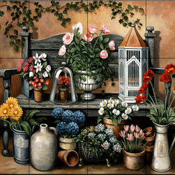 The Tile Mural Store (USA) - Tile Mural - Flower Bench - Kitchen Backsplash Ideas - This beautiful artwork by John Zaccheo has been digitally reproduced for tiles and depicts a bench full of colorful flowers.  With our enormous selection of tile murals of plants and flowers you can bring your kitchen backsplash tile project to life. A decorative tile mural with plants and flowers is an impressive kitchen backsplash idea and decorative flower tiles also work great in the bathroom. Add splashes of color and life to your tile project with images of flowers on tiles and tiles with pictures of plants.