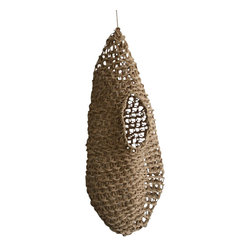 ecofirstart - Woven basket Nid - Handwoven basket called Nid designed. To hang from the ceiling for example close to a bed to tidy up things like books, magazines, cushions ....