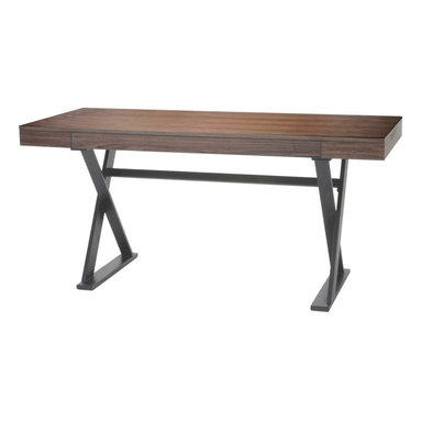 """Moe's Home Collection - Reale Desk Walnut - Functional Desk with clean lines perfect for home or office. MDF with steel frame in matte black paint. Dimensions: 63""""W x 26""""D x 30""""H."""