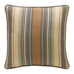 """Legacy Home - Legacy Home Striped Pillow, 20""""Sq. - Bella bed linens in golden brown and slate blue in brocade, crocodile and striped patterns. Duvet cover, blue/cocoa damask pattern. Reverses to cotton. Dust skirt; 18"""" drop. Damask curtains, lined; rod-pocket style. Include tiebacks. 50""""W. Chenill..."""