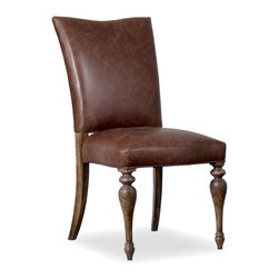 "Hooker Furniture - Hooker Furniture Willow Bend Upholstered Side Chair - Set of 2 - The Willow Bend collection is a perfect example of furniture inspired by the farm-to-table movement. While Willow Bend has farmhouse overtones, it also intentionally appeals to urban and suburban consumers. While it gives a nostalgic glance at simpler and more tranquil times, it offers an eclectic blend of modern function, technology-ready furniture and is paired with contemporary accessories. Seat and front of back: Leather. Back: Fabric. Poplar and Hardwood Solids with Swirl Oak, Oak Burl and Knotty Pin Oak Veneers with Fabric and Leather. Dimensions: 20""W x 29.5""D x 40""H."