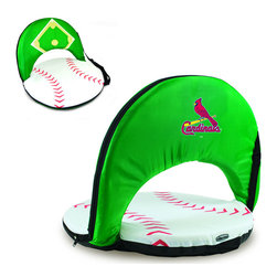 Picnic Time - St. Louis Cardinals Oniva Seat Sport Reclining Seat in Baseball Print - Football fans will love this recreational reclining seat that's so lightweight and portable. The Oniva Seat Sport has an adjustable shoulder strap and six adjustable positions for reclining. The seat cover is made of brown polyester and has been designed so that the entire seat looks like a larger than life football! The bottom of the seat is black dimpled PVC so as not to soil easily, the frame is steel, and the seat is cushioned with high-density PU foam, which provides hours of comfortable sitting. The Oniva Sport - Football is great for the beach, the park, or as an indoor gaming seat and makes the perfect gift for fans of the great sport Americans call football!; Decoration: Digital Print