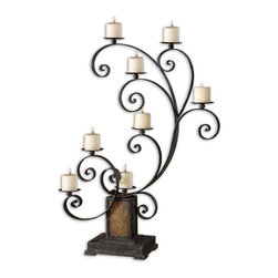Uttermost - Kara Aged Black Metal Candelabra - Heavily Textured, Aged Black Metal With Rust Undertones And Crushed Golden Glass. Distressed Ivory Candles Included.