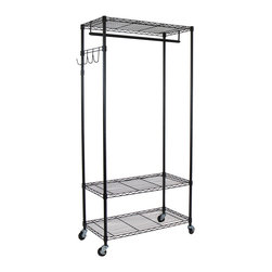 Oceanstar - Oceanstar Garment Rack With Adjustable Shelves With Hooks, Black - Be instantly free of clutter with the all-in-one solution to your storage needs! Constructed with heavy duty steel, the Oceanstar Garment Rack is not only easy to assemble, but sturdy enough to hold heavy garment pieces such as winter wear, gowns, handbags, and footwear, which can all be neatly organized and easily accessible from this one rack. It features 3 height adjustable shelves for extra storage capacity and a detachable hanging bar that easily accommodates to the length and size of your garments. Arrange your handbags onto the removable hook bracket at the desired height. With 4 heavy duty caster wheels for easy transportation, the rack moves effortlessly to anywhere in the home. The Oceanstar Garment Rack not only provides additional storage space but caters specifically to your storage requirements. It is the ideal addition to your home and bath environment.