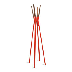 Blu Dot - Blu Dot Splash Coat Rack, Humble Red - Powder-coated steel and solid walnut stand at the ready to relieve you of jackets, hats, scarves and bags in style.  Dress it up or keep it naked.  Either way it remains easy on the eyes. Who says utility can�۪t be attractive?  Available in bright blue, complete yellow, putty grey, humble red, and white.Powder-coated steel, Felt pads on bottom of legs, Solid Walnut