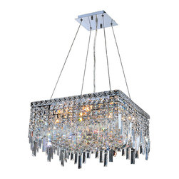 """Worldwide Lighting - Cascade 12-Light Chrome Finish & Crystal 20"""" Square Chandelier - This stunning 12-light Crystal Chandelier only uses the best quality material and workmanship ensuring a beautiful heirloom quality piece. Featuring a radiant chrome finish and finely cut premium grade clear crystals with a lead content of 30%, this elegant chandelier will give any room sparkle and glamour. Dual-mount option for flush or suspension. Worldwide Lighting Corporation is a privately owned manufacturer of high quality crystal chandeliers, pendants, surface mounts, sconces and custom decorative lighting products for the residential, hospitality and commercial building markets. Our high quality crystals meet all standards of perfection, possessing lead oxide of 30% that is above industry standards and can be seen in prestigious homes, hotels, restaurants, casinos, and churches across the country. Our mission is to enhance your lighting needs with exceptional quality fixtures at a reasonable price."""