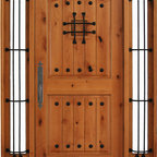 """BGW - Maricopa Deluxe Blonde Door - This door unit comes in Knotty Alder wood. It is 61 1/2"""" wide by 81"""" tall and has a 5 1/4"""" jamb. The door is 36"""" wide and the sidelights are 11 1/2"""" wide. The door is pre-finished, pre-hung, comes with interior casing and exterior brick molding. All you need to buy is Entry Door hardware to complete your installation. The door is available with a right hand or left hand interior swing."""