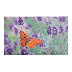 Esschert Design - Printed Doormat - Butterflies - Place a peaceful scene at the forefront of your home with this inviting doormat. The printed pattern of a butterfly in a lavender field is a beautiful way to be welcomed home. Ecofriendly and easy to clean, this doormat is both fun and functional.