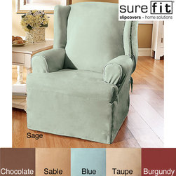 Sure Fit - Sure Fit Smooth Suede Wing Chair Slipcover - You dont have to throw out your comfortable living room chair just because its showing its age. Buy a suede wing chair slipcover to give it a new lease on life. Available in five solid colors,this slipcover can help update the look of any room.