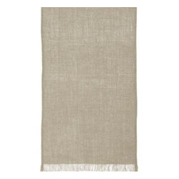 """Beckett Linen 90"""" Runner - Pure, beautiful linen graces the chic, casual table in natural fiber, edged with hand-made fringe."""