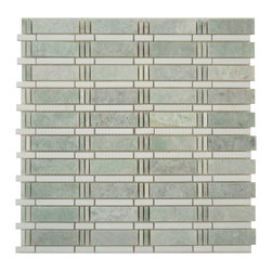"Euro Glass - Skyline Ming Green and Thassos White Uniform Brick Green Kitchen Polished Stone - Sheet size: 12 1/2"" x 12 1/2"""