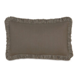Frontgate - Breeze Decorative Lumbar Pillow with Fringe - Woven of 100% linen. Enhanced with beautiful piecing and trimmings. Dry clean only. Since each piece is made to order, please allow 4-6 weeks for delivery. Made in the USA. The light comfort and mitered look of Breeze adds a modern touch to your decor. The 100% linen bedding is offered in three neutral yet up-to-date colorways that blend seamlessly with your individual style. . . . . .