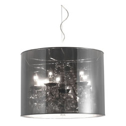 ZUO PURE - Quark Ceiling Lamp Translucent - Sophistication with a touch of whimsy is the Quark ceiling lamp. The shade is a translucent metallic shade with a base of chrome. Hanging from the base are strands of crystals. Five 40W bulbs included. UL approved.