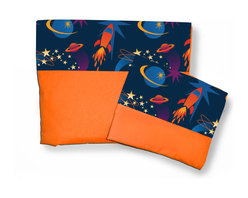 Room Magic - Star Rocket Full Sheets/Pillowcase Set - Our Star Rocket Full sheets set has a solid fitted sheet and a solid top sheet and pillowcase trimmed with a designer print border swirling with stars, planets ands planets.  Available in Full size in the finest 100% Cotton poplin.