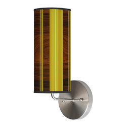 jefdesigns - Vertical Stripey 2 Wall Sconce - The light will burst from this column in long rays, inspiring your sense of style while illuminating your home. The cool greens are grounded by the rich woodgrain in the shade's pattern, and you'll love the overall whimsical effect.
