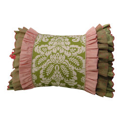Artistic Sensations - 20x26 Green Damask with Green, Pink, and Sage Triple Ruffle Standard Sham - Girls Rule with our gorgeous pink and green lace and damask print bedding collection. Your hip and stylish teen girl will enjoy these luxurious fabrics and designer look of this made to order triple ruffle standard sham. Featuring fabrics with fuchsia and green ruffles and lace accents and beautifully made to order pillows, this sham will amaze you and your teenager. It goes beautifully with our pink and green lace and damask bedding collection.