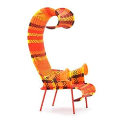 "Shadowly Chaise Lounge By Tord Boontje For Moroso Of Italy - O.K. For Reals - this is the weirdest chair I have ever seen in my entire life, and I dig it. At first glance I thought ""is this a chair, or is it some sort of weird Dr. Seuss centipede character?"""