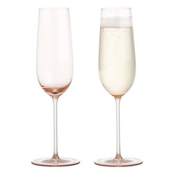 Cameo Sparkling Wine Glass - These pretty pink-hued champagne glasses would be perfect for mimosas at brunch or for your post-dinner celebration. Cheers and happy spring!