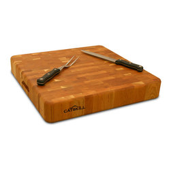 "Catskill Craftsmen - Catskill 18"" Square Slab Butcher Block - 3"" Thick End Grain - A sturdy, 18 inch square chopping block made of end grain construction, 3-inches thick.  Reversible, plus finger slots for easy lifting. Catskill Model 1318."