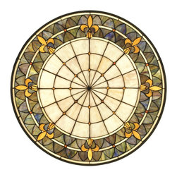 Meyda Tiffany - Meyda Tiffany MD-82455 Fleur-De-Lis Medallion Stained Glass Window - A Meyda Tiffany original design, the Fleur-de-Lis medallion window is an intricate design of Golden tri-petaled irises and jewels against Twilight and Beige bands. Reminiscent of castle and cathedral windows, this pattern holds a prominent place in French Heraldry. Handcrafted utilizing the copperfoil construction process and 296 pieces of stained art glass and 24 Amber glass jewels encased in a solid brass frame. Mounting bracket and jack chain are included