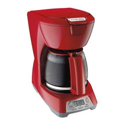 Hamilton Beach - Proctor-Silex 12cup Coffeemaker Red - This proctor-silex 12-cup coffeemaker has a programmable clock/timer. It features 2 hour auto shutoff auto pause and serve water window and 1-4 cup brewing option. Carafe and basket as dishwasher safe.