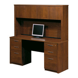 Bestar - Bestar Embassy Credenza and Hutch with 2 Assembled Pedestals in Tuscany Brown - Bestar - Executive Desks - 6087263 - Warm and elegant the Embassy Collection stands out with its versatility. From executive groups to computer work centers Embassy is the answer. Stylish moldings thermofused melamine finish and designer handles are some of the great features offered in this stunning collection by Bestar. This traditional modular collection offers numerous configuration for various use.