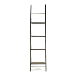 Kathy Kuo Home - Martina Industrial Loft Reclaimed Wood Ladder Bookcase - S - Perfect for an industrial loft or a room with limited space, the open-backed ladder shelving of this bookcase provides storage without crowding your decor. Lean the streamlined, reclaimed wood bookcase against any wall to create an instant display for novels, magazines or even kitchenware.