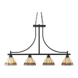 Z-Lite - Z-Lite Prairie Garden Kitchen Island / Billiard X-4-53Z - The traditional styling of this four light fixture creates a classic statement. Finished in bronze, this four light fixture uses warm glowing tiffany shades to compliment its classic look, and 72'' of chain per side is included to ensure the perfect hanging height.